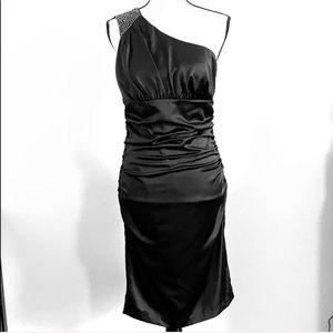 Black Satin One Shoulder Dress w/ Gunmetal Accent